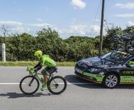 骑自行车者汤姆Jelte Slagter -环法自行车赛2016年 图库摄影