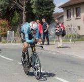 骑自行车者法比奥阿鲁- Criterium du杜法因呢2017年 免版税库存照片