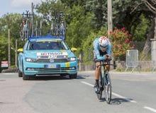 骑自行车者法比奥阿鲁- Criterium du杜法因呢2017年 库存照片
