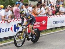 骑自行车者泰勒Farrar -环法自行车赛2015年 图库摄影