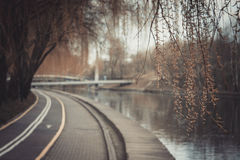 骑自行车者的自行车道路 自行车车道在公园 休息区域 在水的休息 免版税库存照片