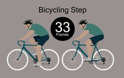 骑自行车者的节奏性运动 库存例证