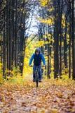 骑自行车者秋天森林 免版税库存照片