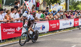 骑自行车者约翰Vansummeren -环法自行车赛2015年 库存图片