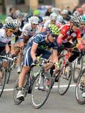 骑自行车者约阿奎恩・ jose movistar罗哈斯s小&#3 免版税库存照片