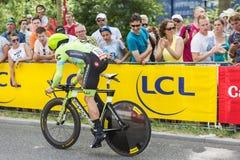 骑自行车者纳丹Haas -环法自行车赛2015年 免版税图库摄影