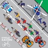 骑自行车者编组在专业种族 库存照片