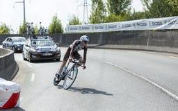 骑自行车者罗迈因Bardet -环法自行车赛2015年 图库摄影
