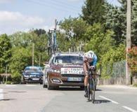 骑自行车者罗迈因Bardet - Criterium du杜法因呢2017年 库存图片