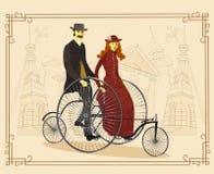 骑自行车者英国夫妇自行车的 也corel凹道例证向量 - 不适 皇族释放例证