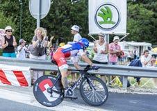 骑自行车者西尔万Chavanel -环法自行车赛2014年 库存图片