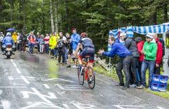 骑自行车者西尔万Chavanel -环法自行车赛2014年 免版税库存图片
