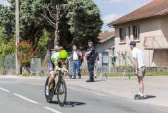 骑自行车者西蒙克拉克- Criterium du杜法因呢2017年 免版税库存照片