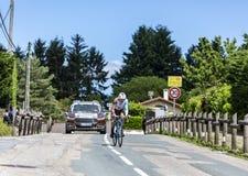 骑自行车者西里尔戈蒂埃- Criterium du杜法因呢2017年 免版税库存图片