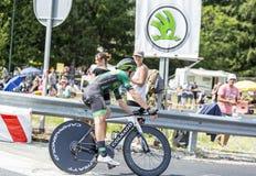骑自行车者西里尔Gautier -环法自行车赛2014年 图库摄影