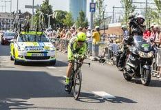 骑自行车者迈克尔・罗杰斯-环法自行车赛2015年 库存照片
