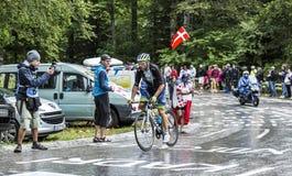 骑自行车者迈克尔Albasini -环法自行车赛2014年 免版税图库摄影
