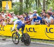 骑自行车者迈克尔Albasini -环法自行车赛2015年 库存照片