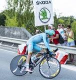骑自行车者雅各布Fuglsang -环法自行车赛2014年 免版税库存图片