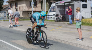 骑自行车者雅各布Fuglsang - Criterium du杜法因呢2017年 免版税图库摄影