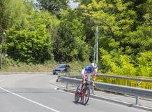 骑自行车者雅格布Guarnieri - Criterium du杜法因呢2017年 图库摄影