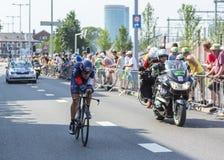 骑自行车者马赛厄斯Brandle -环法自行车赛2015年 图库摄影