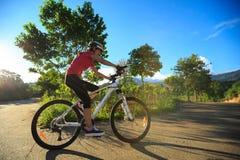 骑自行车者骑马在日出森林足迹的登山车 免版税库存照片