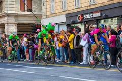 骑自行车者,环意自行车赛 免版税图库摄影