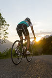 骑自行车者从后面与日落 免版税库存照片