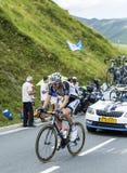 骑自行车者彻尔de Peyresourde -环法自行车赛的汤姆Dumoulin 免版税图库摄影