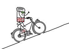 骑自行车者&山 免版税库存图片