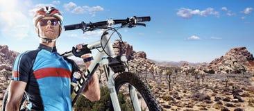 骑自行车者画象 免版税库存照片