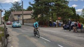 骑自行车者Alexey卢岑科- Criterium du杜法因呢2017年 免版税图库摄影