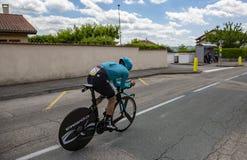 骑自行车者Alexey卢岑科- Criterium du杜法因呢2017年 免版税库存照片