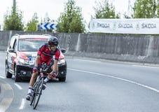 骑自行车者Amael Moinard -环法自行车赛2014年 库存照片