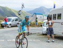 骑自行车者Andriy Grivko -环法自行车赛2015年 库存图片