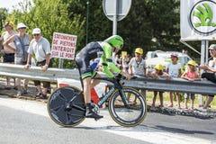 骑自行车者Bauke Mollema -环法自行车赛2014年 免版税库存图片