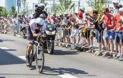 骑自行车者Bauke Mollema -环法自行车赛2015年 免版税库存照片