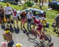 骑自行车者Ilnur Zakarin -环法自行车赛2016年 免版税库存照片