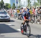骑自行车者Jarlinson Pantano戈麦斯-环法自行车赛2015年 免版税库存照片