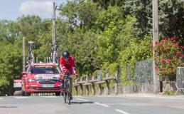 骑自行车者Julien西蒙- Criterium du杜法因呢2017年 免版税图库摄影