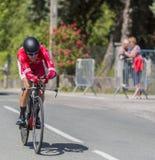 骑自行车者Julien西蒙- Criterium du杜法因呢2017年 免版税库存图片