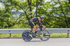骑自行车者Julien Morice - Criterium du杜法因呢2017年 免版税图库摄影