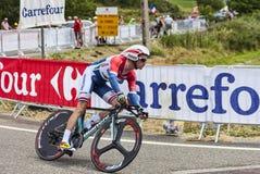 骑自行车者Lieuwe Westra 免版税库存照片