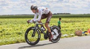 骑自行车者Mickael Cherel 免版税库存图片