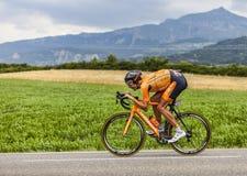 骑自行车者Mikel Astarloza 免版税库存图片