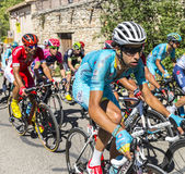 骑自行车者Mont Ventoux -环法自行车赛的法比奥阿鲁2016年 库存照片