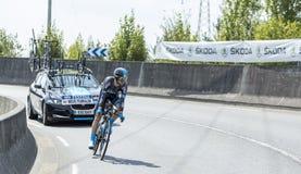 骑自行车者Nieve Iturralde -环法自行车赛2014年 免版税库存照片