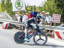 骑自行车者Nieve Iturralde -环法自行车赛2014年 免版税库存图片