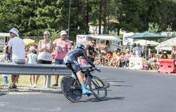 骑自行车者Nieve Iturralde -环法自行车赛2014年 库存图片